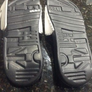 adidas Shoes - NWT adidas white with black logo slides / sandals